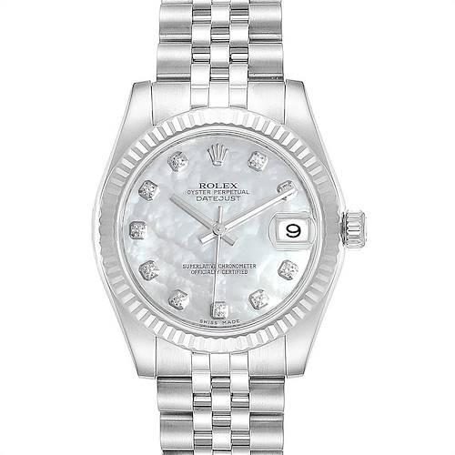 Photo of Rolex Datejust Midsize 31 Steel White Gold Diamond Ladies Watch 178274