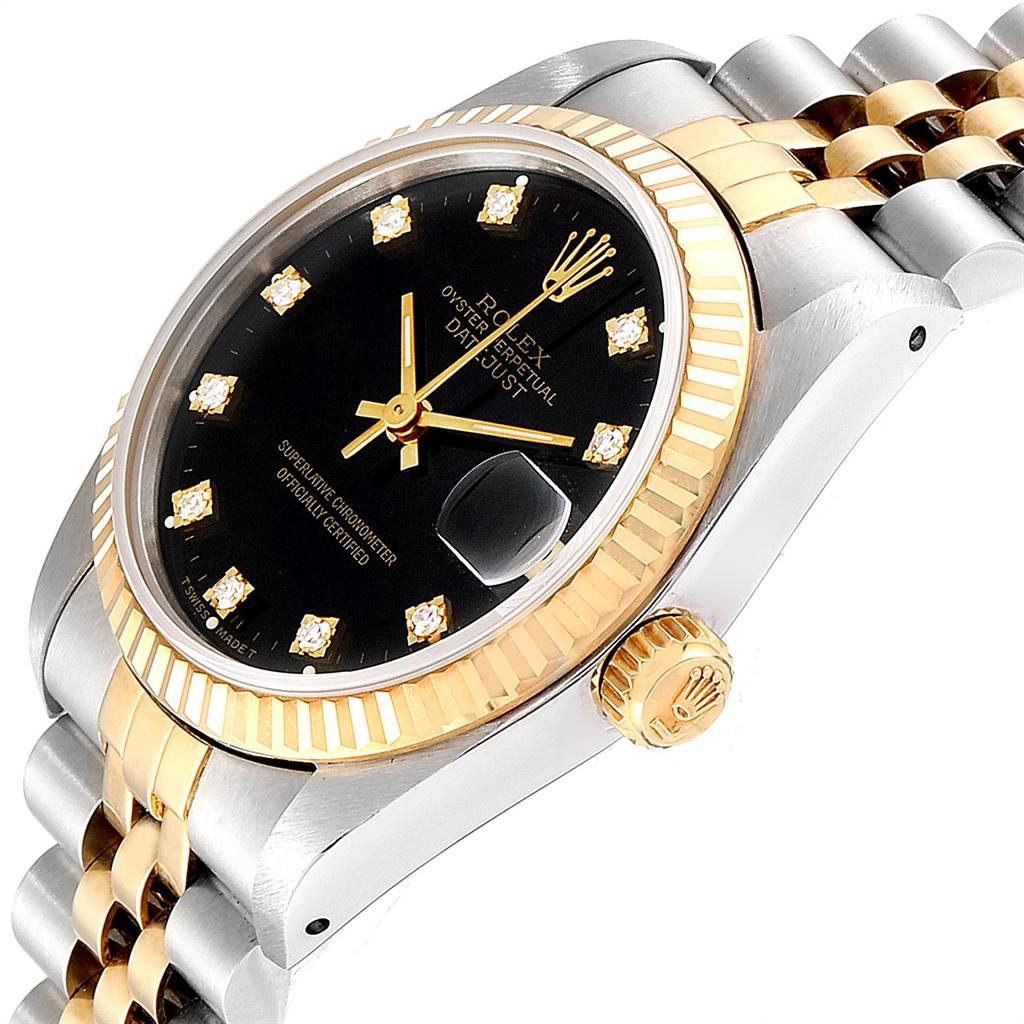 Rolex Datejust Midsize Steel Yellow Gold Diamond Ladies Watch 68273 Unworn SwissWatchExpo