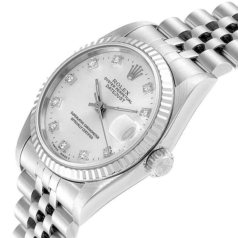 Rolex Datejust Midsize Steel White Gold Diamond Dial Ladies Watch 68274 SwissWatchExpo
