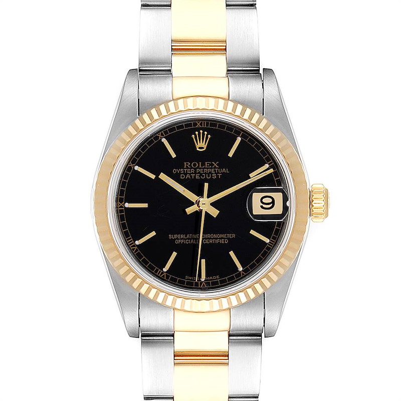 Rolex Datejust Midsize Black Dial Steel Yellow Gold Ladies Watch 78273 SwissWatchExpo