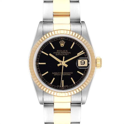 Photo of Rolex Datejust Midsize Black Dial Steel Yellow Gold Ladies Watch 78273