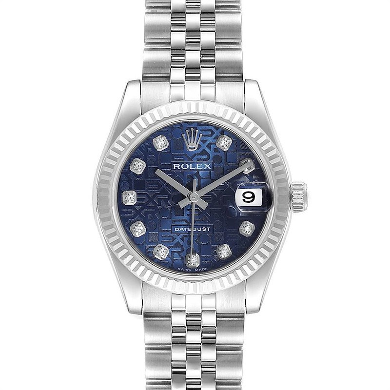 Rolex Datejust Midsize Steel White Gold Blue Diamond Dial Watch 178274 SwissWatchExpo