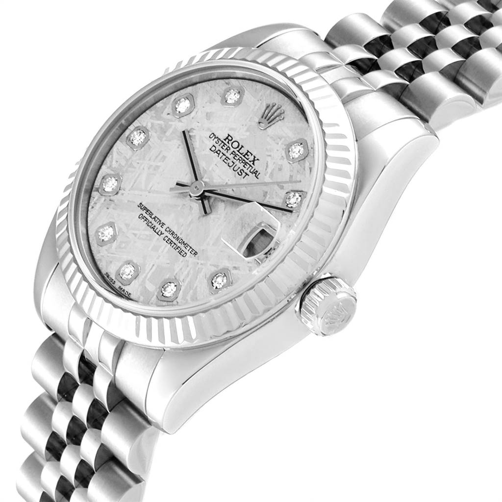 Rolex Datejust Midsize Steel White Gold Meteorite Diamond Watch 178274 SwissWatchExpo