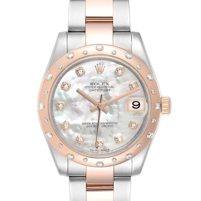 Rolex Datejust Midsize 31 Steel Everose Gold Diamond Ladies Watch 178341 SwissWatchExpo