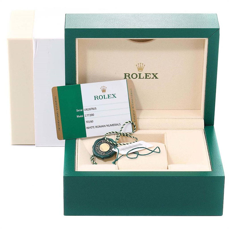 Rolex Oyster Perpetual Midsize White Dial Ladies Watch 177200 Box Card SwissWatchExpo