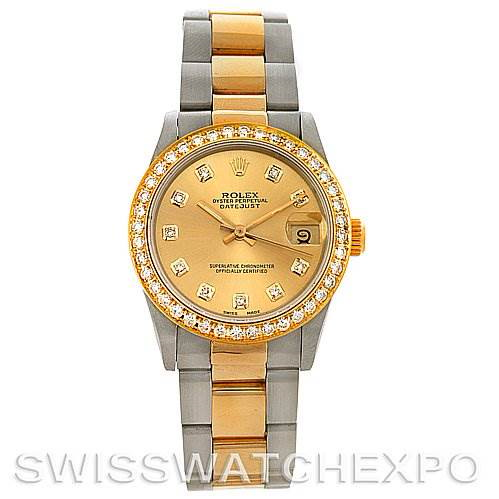 Rolex Datejust Midsize Steel and 18k Gold Diamond 68273 SwissWatchExpo