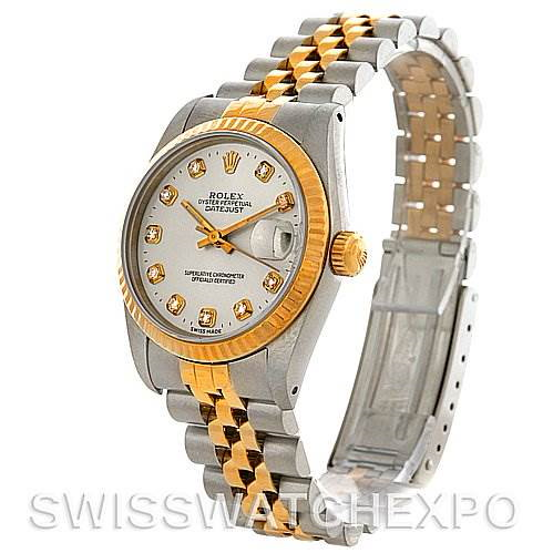 Rolex Datejust Midsize Steel and 18k Gold Silver Diamond Dial 68273 SwissWatchExpo