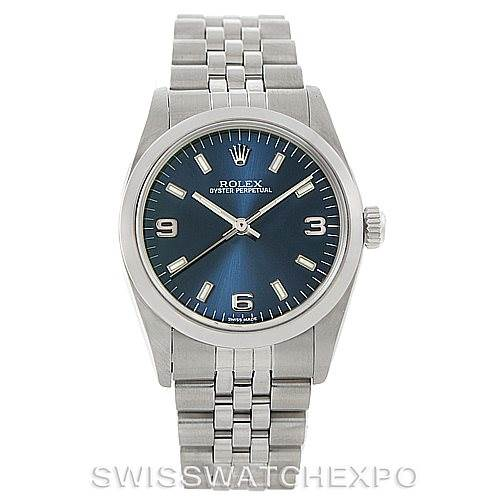 Rolex Midsize Oyster Perpetual Steel Blue Dial Watch 77080 SwissWatchExpo