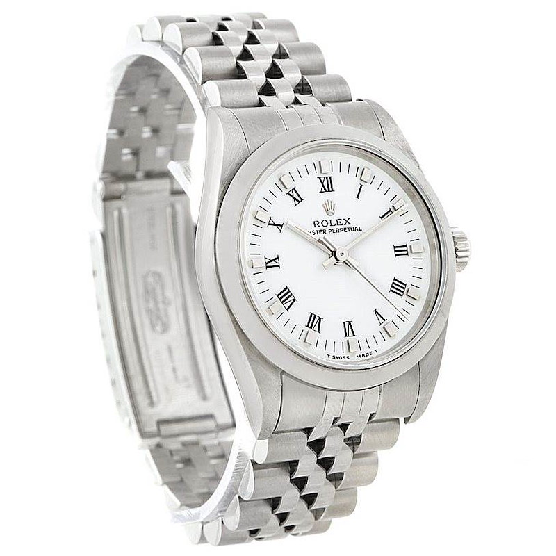 Rolex Midsize Oyster Perpetual White Dial Steel Watch 67480 SwissWatchExpo