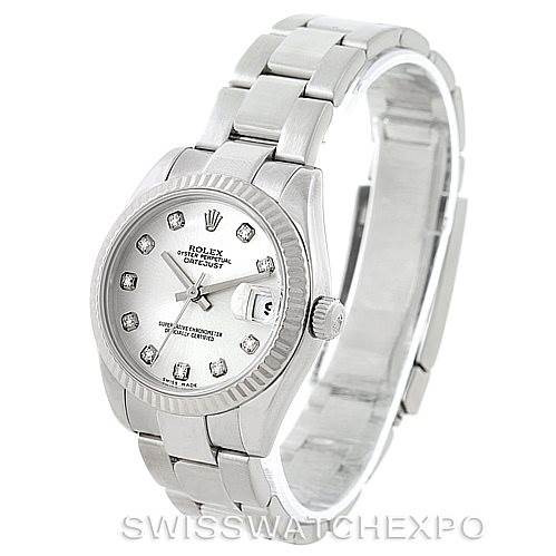 Rolex Datejust Midsize Steel 18k White Gold Diamond Watch 178274 SwissWatchExpo