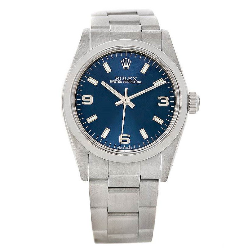 Rolex Midsize Oyster Perpetual Blue Dial Steel Watch 77080 SwissWatchExpo