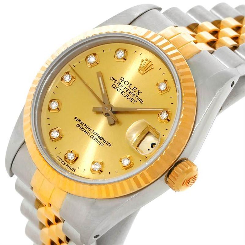 Rolex Datejust Midsize Steel 18k Gold Diamond Watch 68273 SwissWatchExpo
