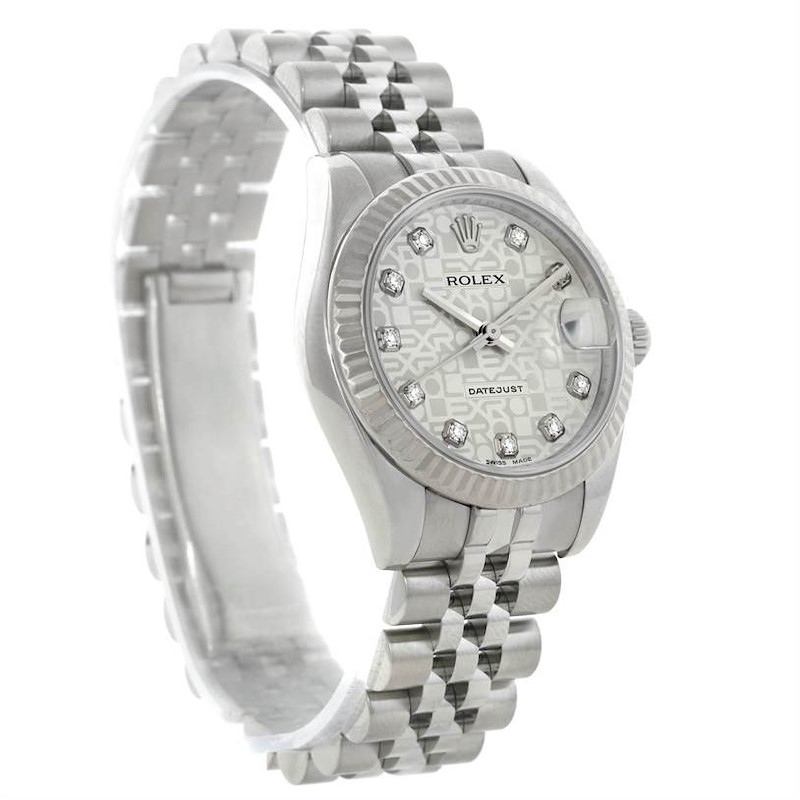 Rolex Datejust Midsize Steel 18k White Gold Diamond Watch 178274 SwissWatchExpo