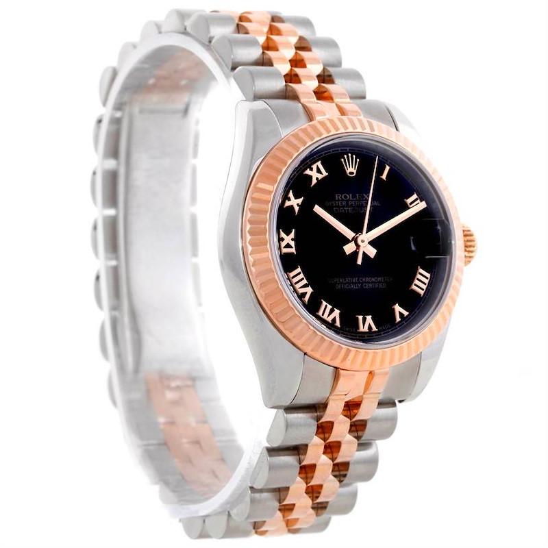 Rolex Datejust Midsize Steel 18k Rose Gold Black Dial Watch 178271 SwissWatchExpo