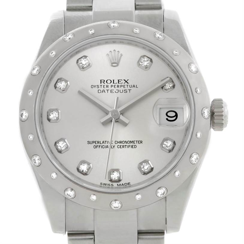 9074 Rolex Datejust Midsize Stainless Steel Diamond Watch 178344 SwissWatchExpo
