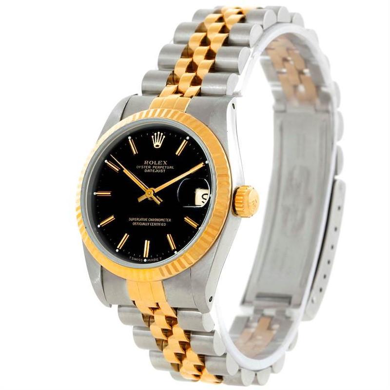 Rolex Datejust Midsize Steel 18k Yellow Gold Black Dial Watch 68273 SwissWatchExpo