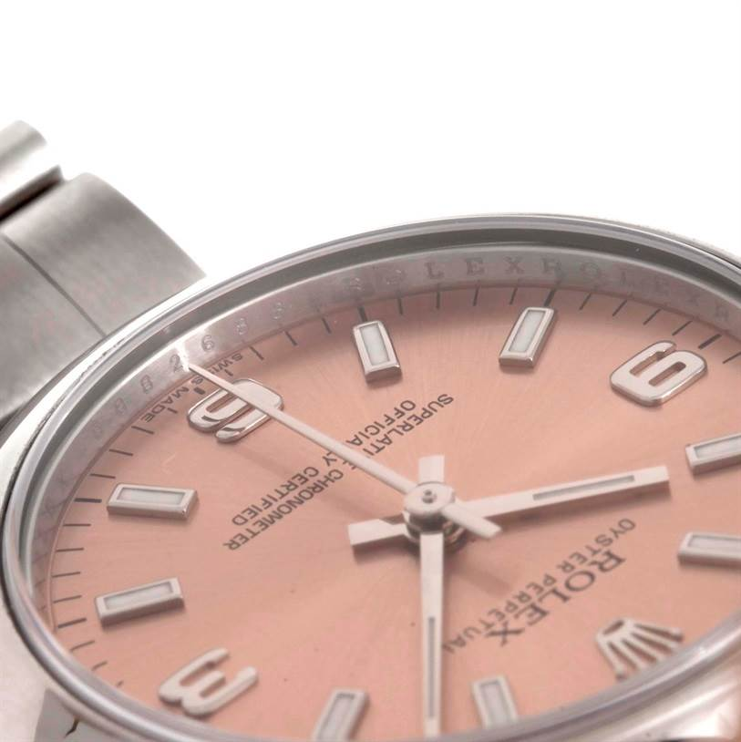 9571 Rolex Oyster Perpetual Midsize Steel Salmon Dial Watch 177200 SwissWatchExpo