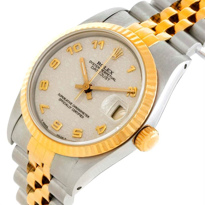 Rolex Datejust Midsize Steel Yellow Gold Anniversary Dial Watch 68273 SwissWatchExpo