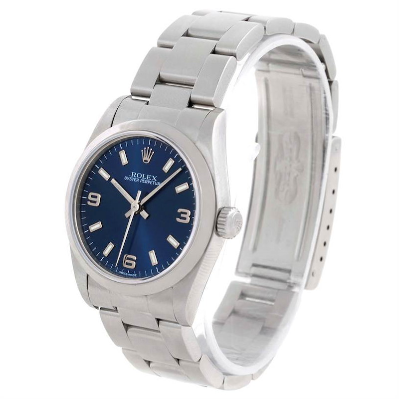 Rolex Midsize Datejust Blue Dial Oyster Bracelet Steel Watch 77080 SwissWatchExpo