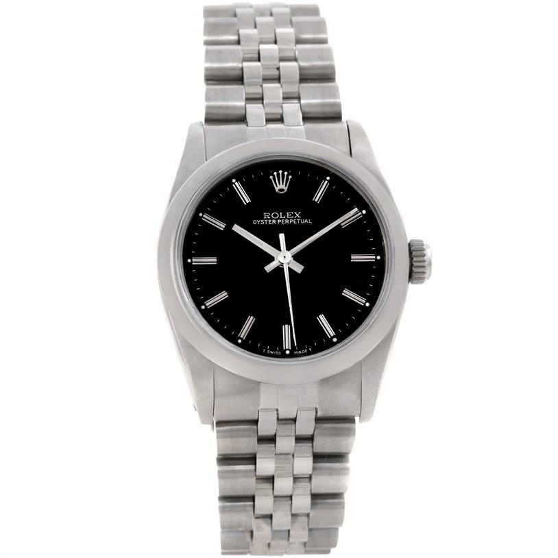 Rolex Midsize Oyster Perpetual Black Dial Stainless Steel Watch 67480 SwissWatchExpo