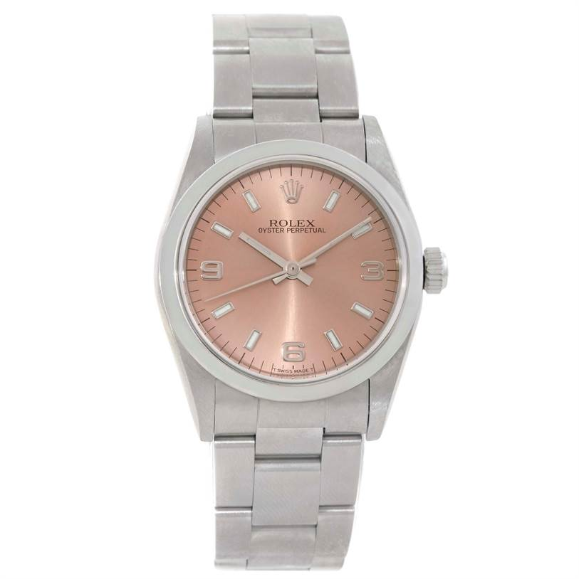9735 Rolex Midsize Oyster Perpetual Salmon Dial Steel Watch 77080 SwissWatchExpo