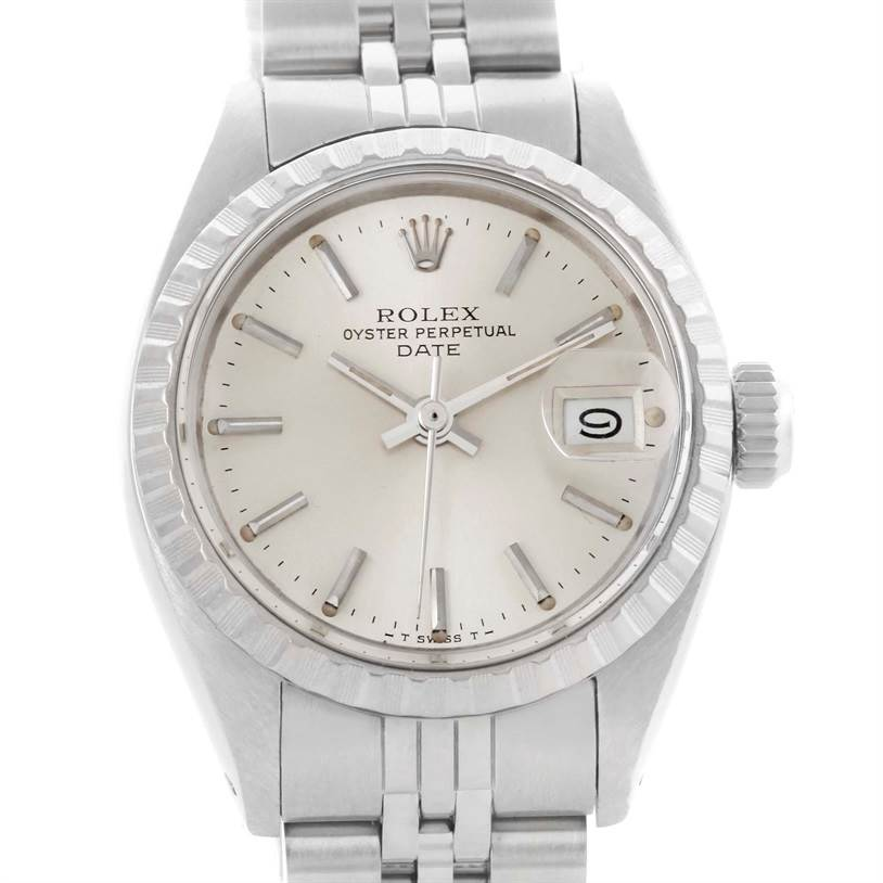 10571 Rolex Date Ladies Stainless Silver Silver Dial Watch 6924 SwissWatchExpo