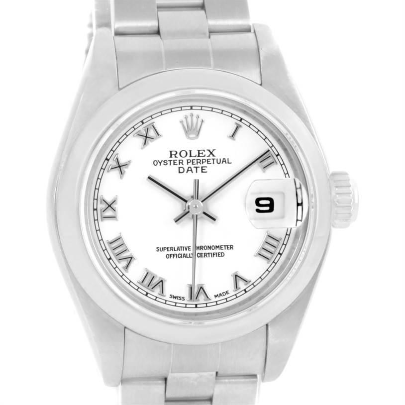 8610 Rolex Date White Roman Dial Oyster Bracelet Ladies Steel Watch 79160 SwissWatchExpo