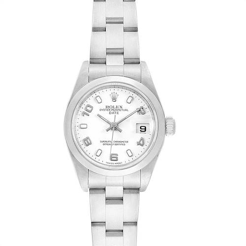 Photo of Rolex Date White Dial Oyster Bracelet Ladies Steel Watch 79160