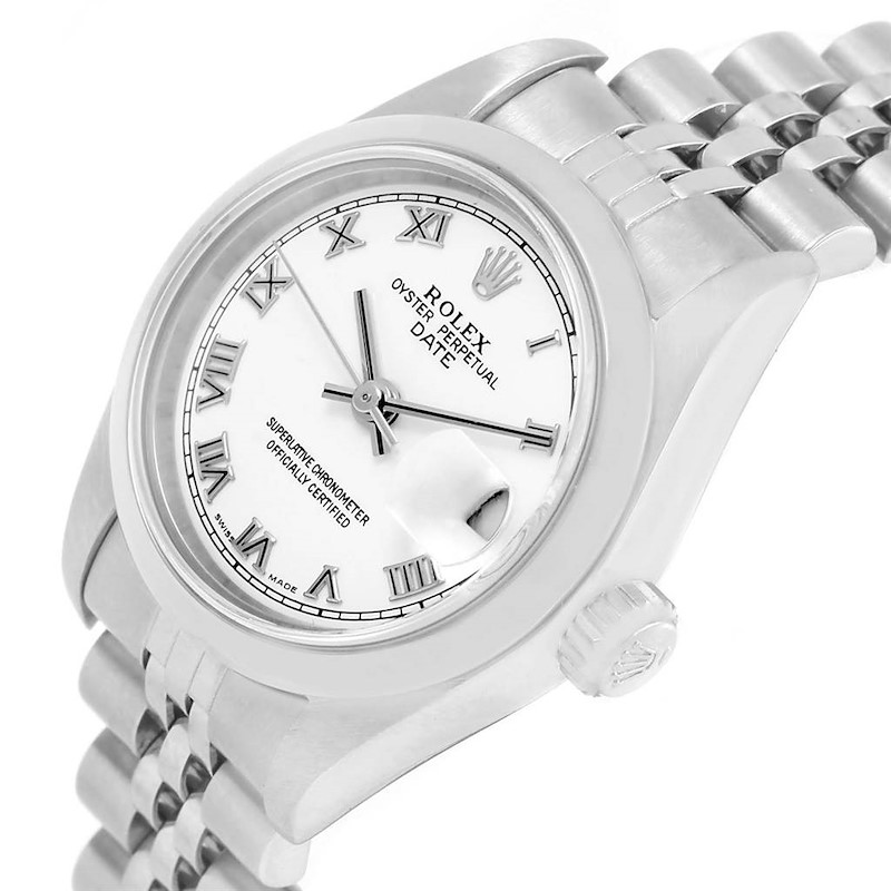 Rolex Date White Roman Dial Steel Ladies Watch 79160 Box Papers SwissWatchExpo