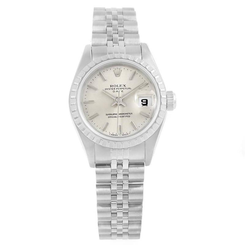 Rolex Date Silver Baton Dial Jubilee Bracelet Steel Ladies Watch 69240 SwissWatchExpo
