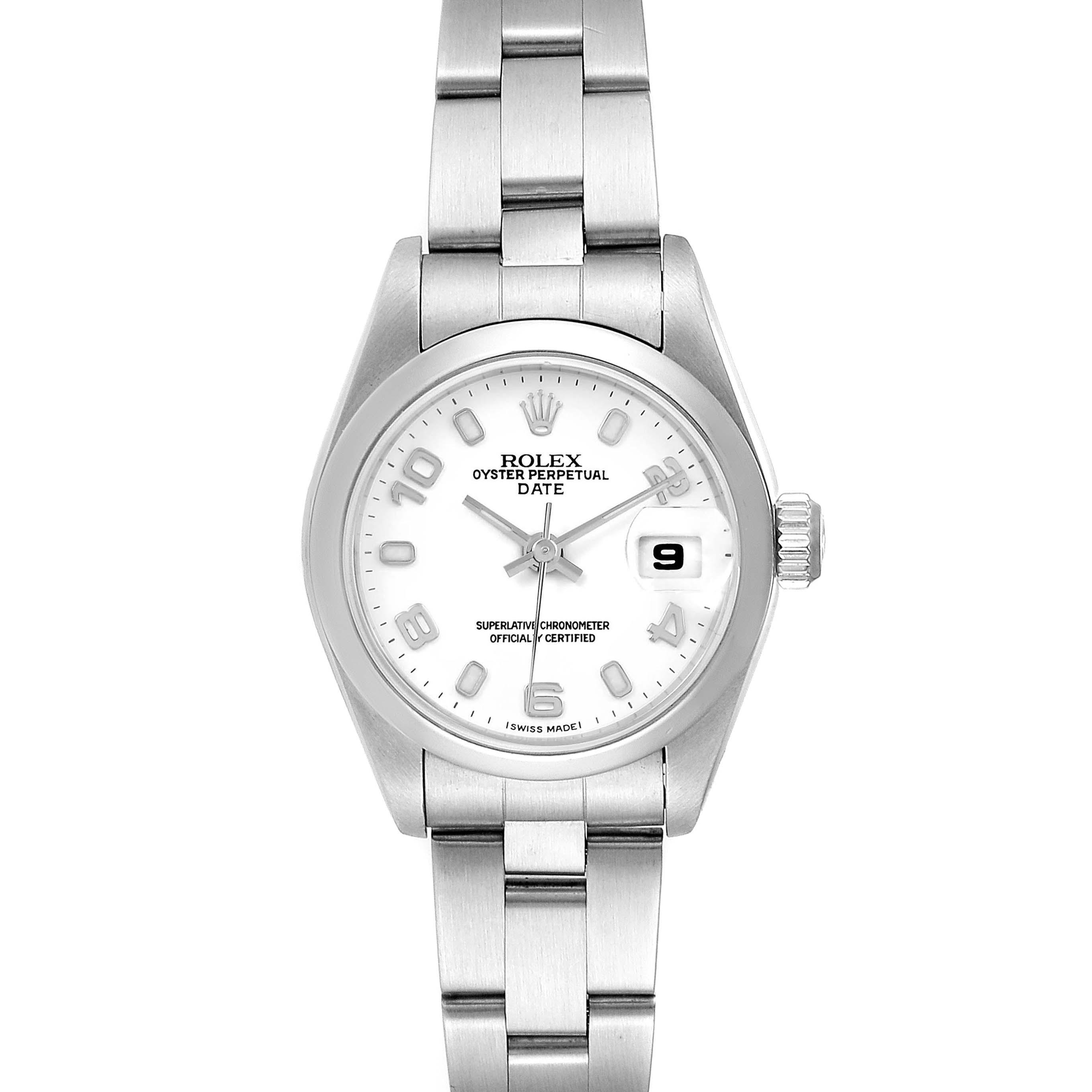 Rolex Date White Dial Oyster Bracelet Steel Ladies Watch 69160