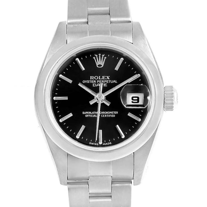 Rolex Date Black Baton Dial Oyster Bracelet Steel Ladies Watch 79160 SwissWatchExpo