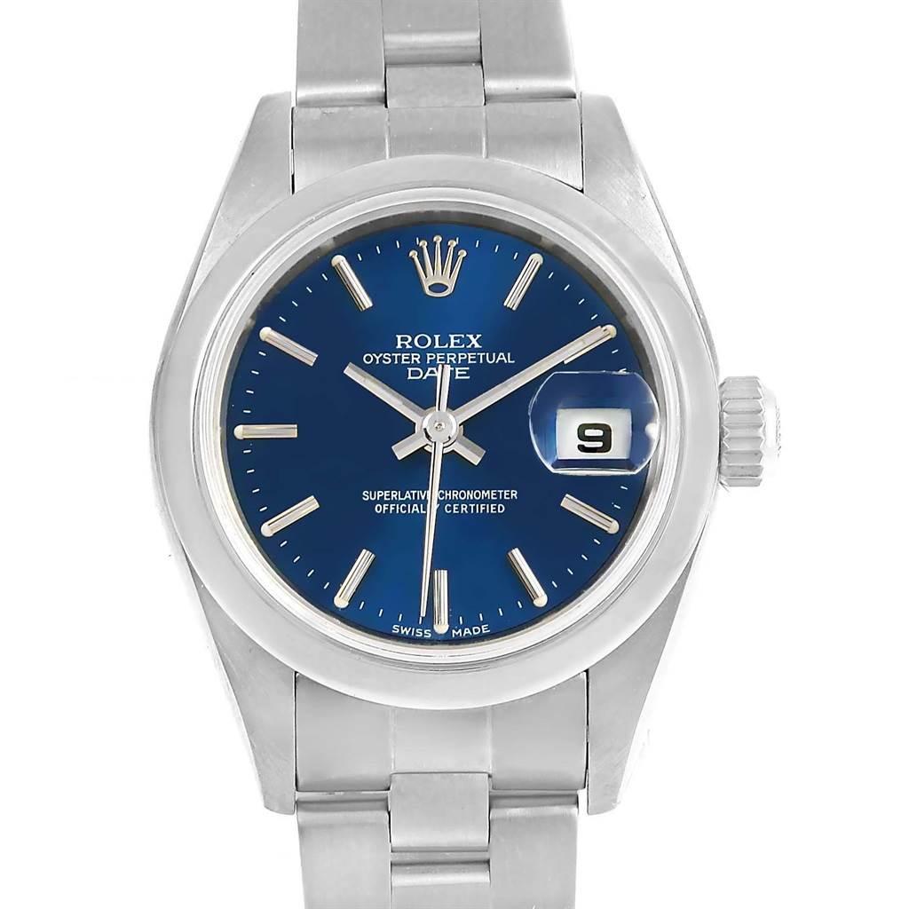 Rolex Date Blue Baton Dial Oyster Bracelet Steel Ladies Watch 79160 SwissWatchExpo
