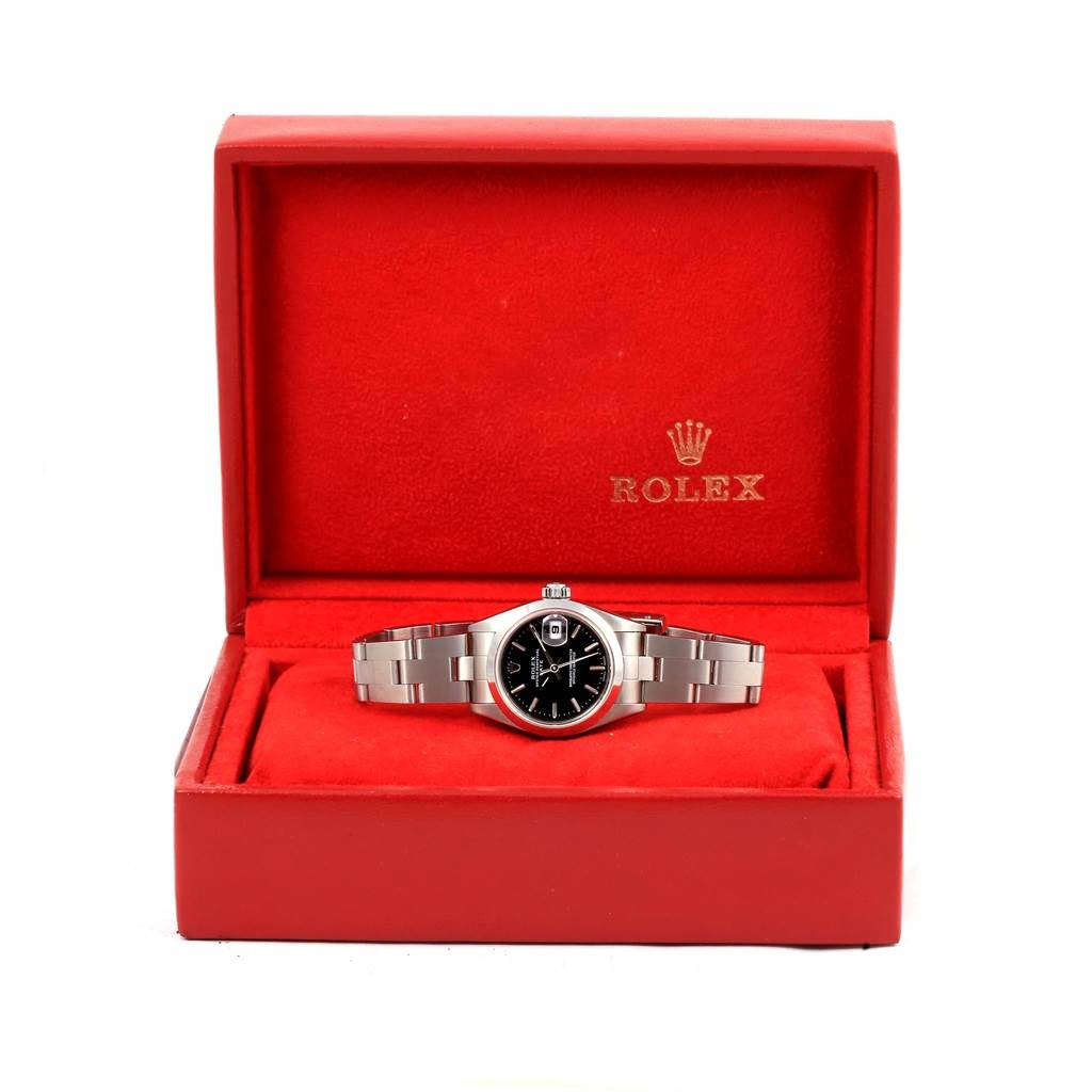 14513 Rolex Date Black Index Dial Automatic Steel Ladies Watch 79160 Box SwissWatchExpo