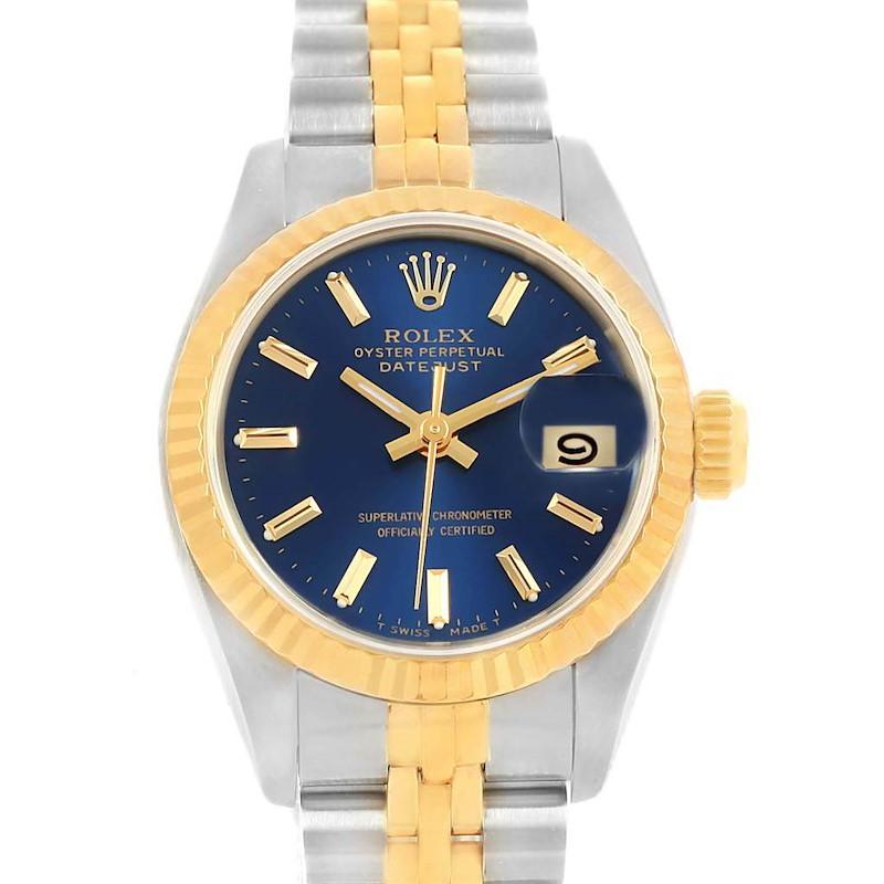 Rolex Datejust Steel Yellow Gold Blue Dial 26mm Ladies Watch 69173 SwissWatchExpo