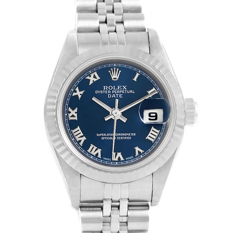 Rolex Datejust Ladies Steel White Gold Blue Dial Watch 79174 Box Papers SwissWatchExpo