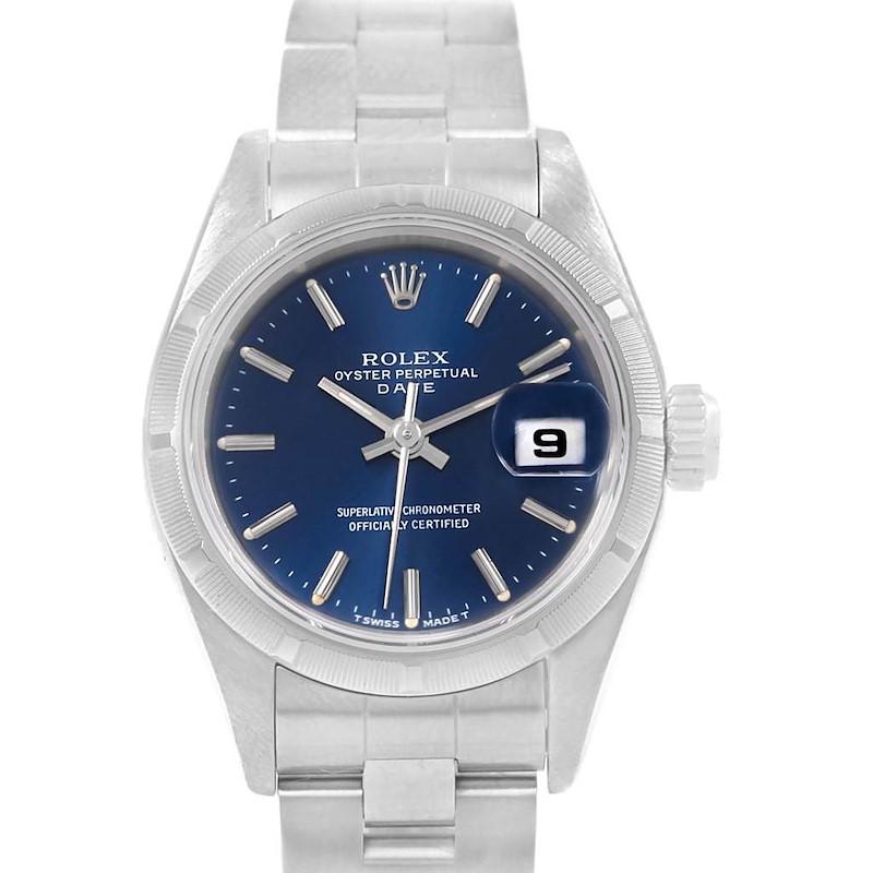 Rolex Date Blue Dial Oyster Bracelet Steel Ladies Watch 69190 SwissWatchExpo