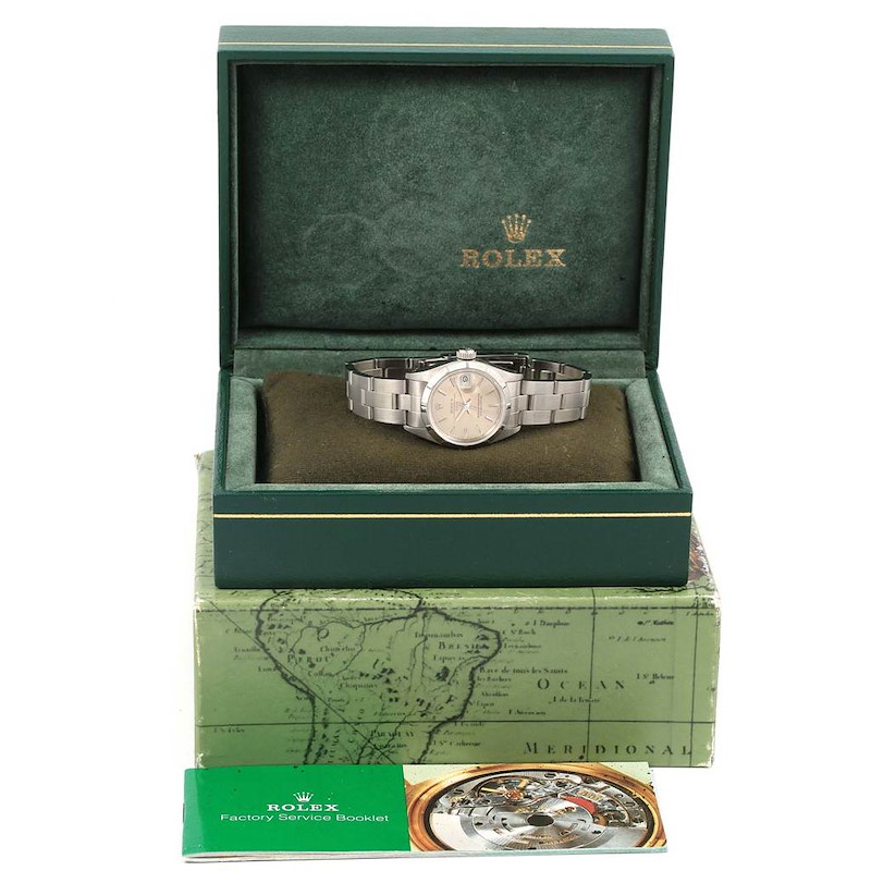 Rolex Oyster Perpetual Date Steel Silver Dial Ladies Watch 69190 SwissWatchExpo