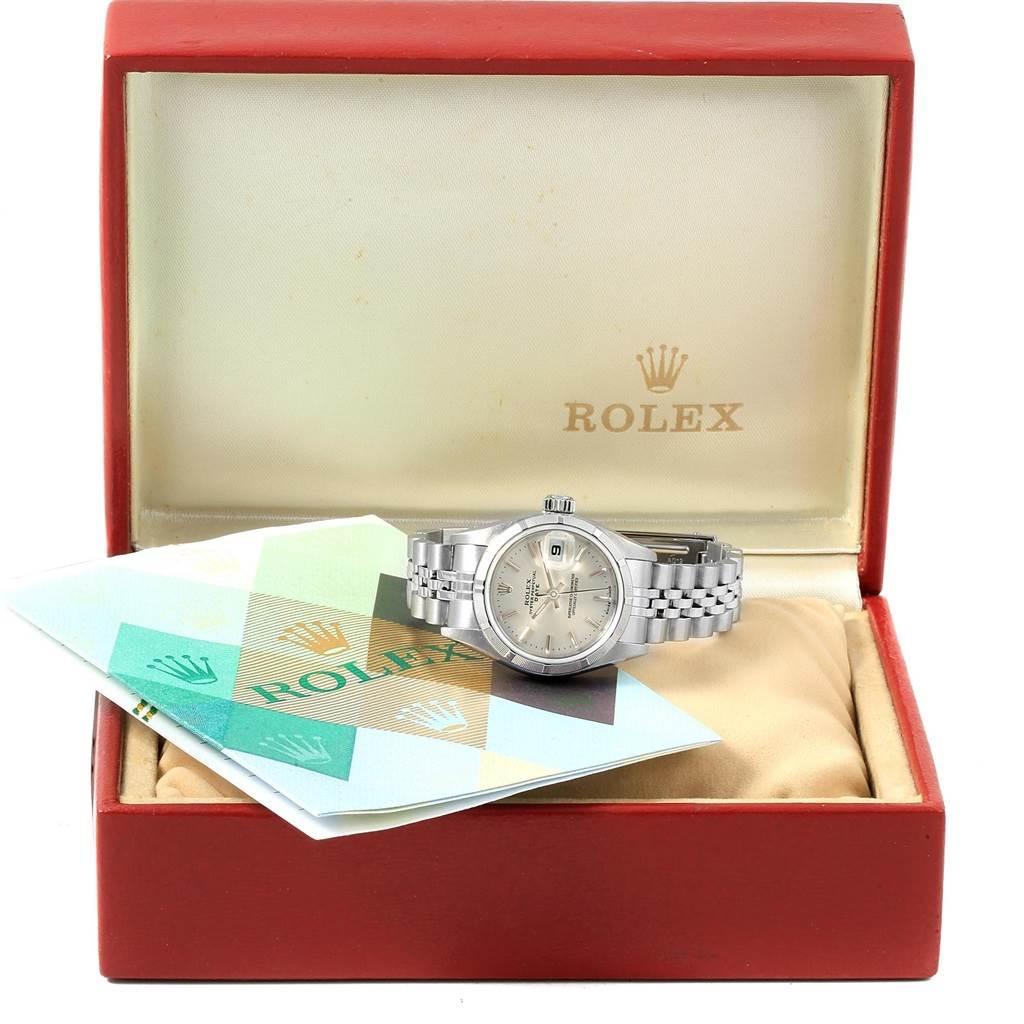 Rolex Datejust Stainless Steel Silver Baton Dial Ladies Watch 79190 SwissWatchExpo