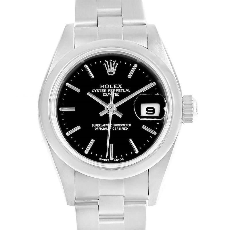 Rolex Date Black Dial Oyster Bracelet Steel Ladies Watch 79160 Box SwissWatchExpo