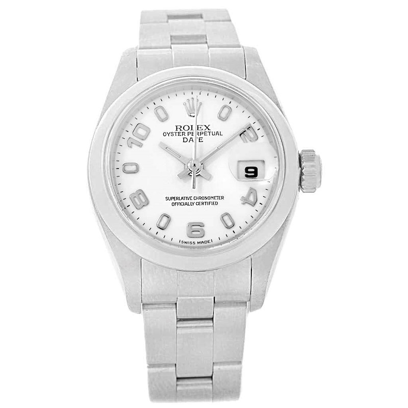 Rolex Date 26 White Dial Oyster Bracelet Ladies Watch 79160 Box Papers SwissWatchExpo