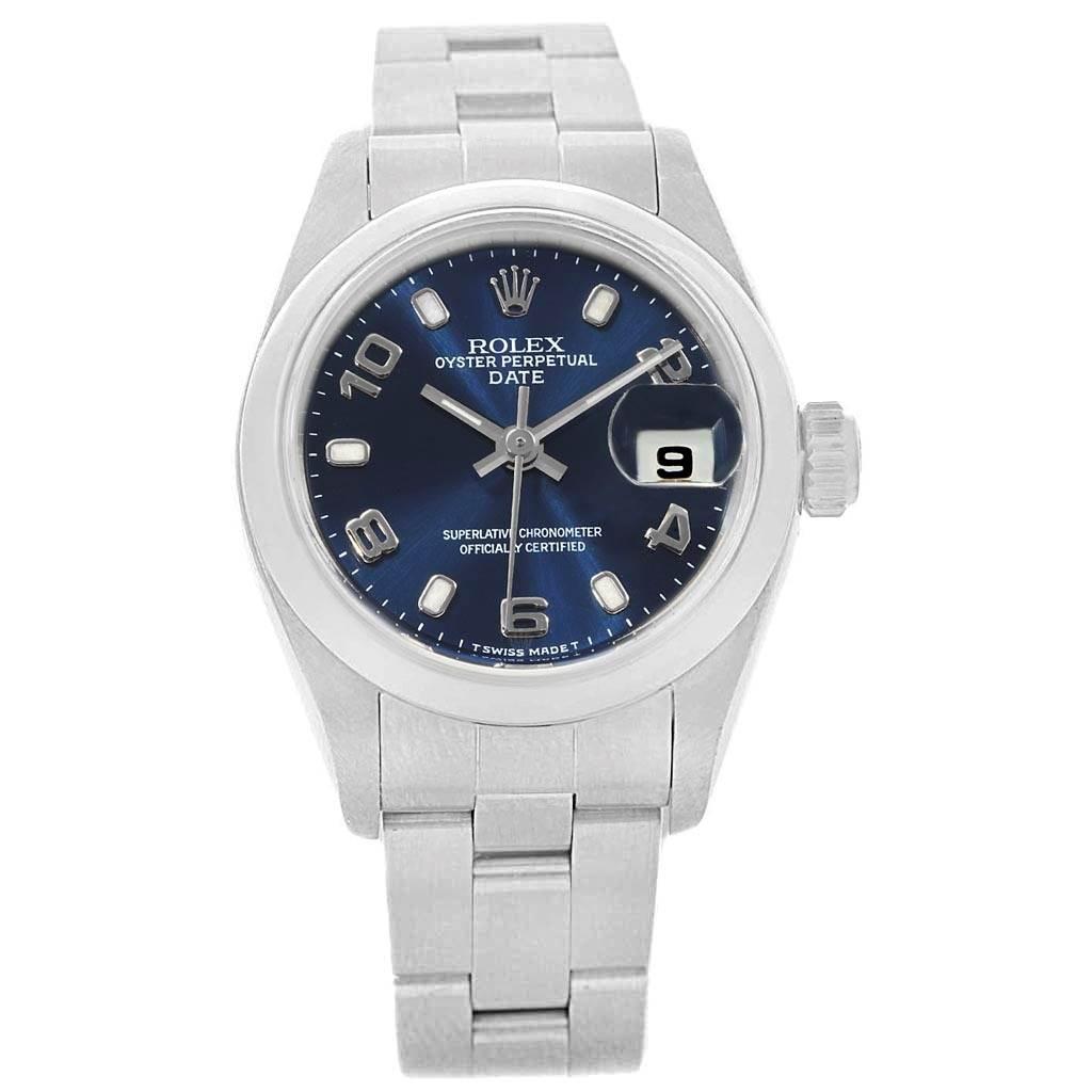 1b5d6836e0f8b ... 18801 Rolex Date 26 Blue Dial Oyster Bracelet Steel Ladies Watch 79160  SwissWatchExpo ...