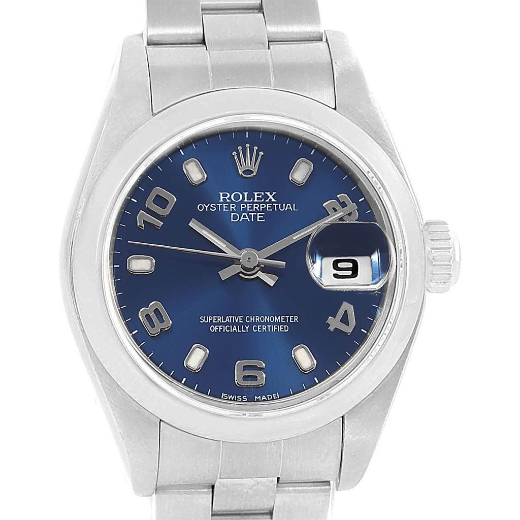 18834 Rolex Date 26 Blue Dial Oyster Bracelet Steel Ladies Watch 79160 SwissWatchExpo