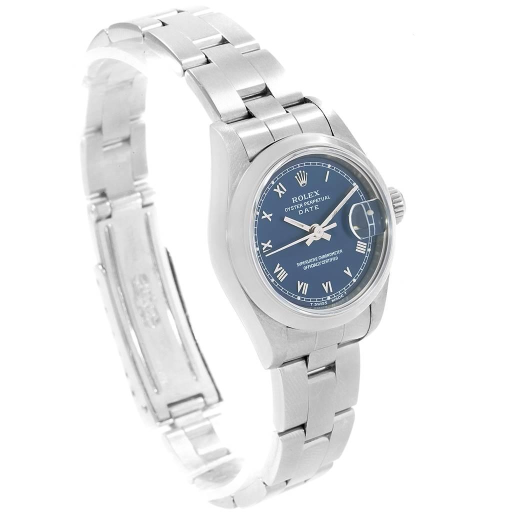 19062 Rolex Date Blue Dial Oyster Bracelet Steel Ladies Watch 69160 SwissWatchExpo