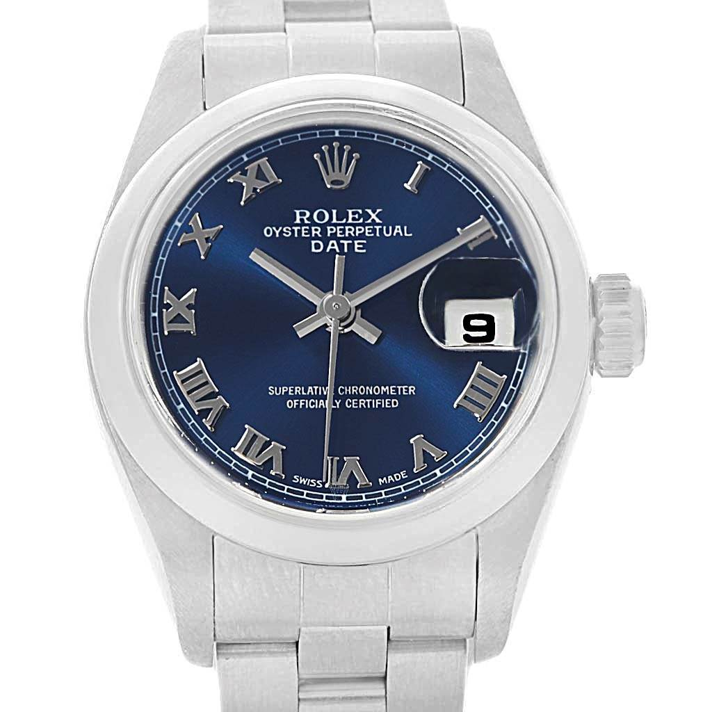 Rolex Date 26 Blue Dial Oyster Bracelet Ladies Watch 79160 SwissWatchExpo