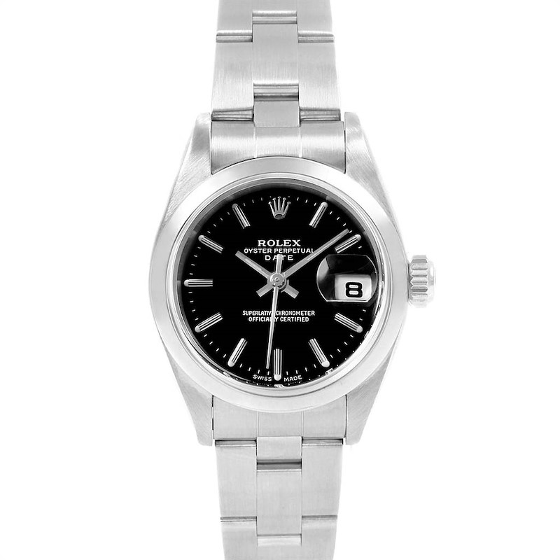 Rolex Date Black Dial oyster bracelet Steel Ladies Watch 79160 Box Papers SwissWatchExpo