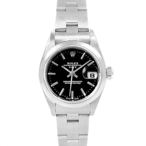 Photo of Rolex Date Black Dial oyster bracelet Steel Ladies Watch 79160 Box Papers