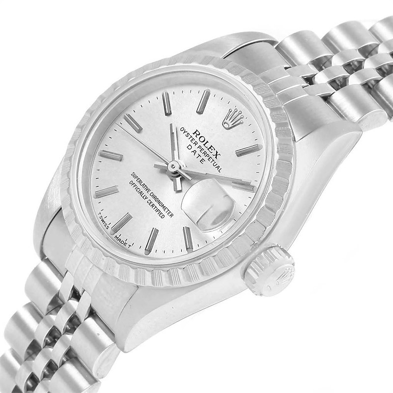 Rolex Date Silver Dial Steel Ladies Watch 69240 Box Papers SwissWatchExpo