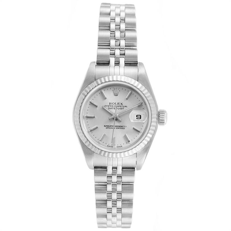 Rolex Datejust Ladies Steel White Gold Silver Baton Dial Watch 79174 SwissWatchExpo