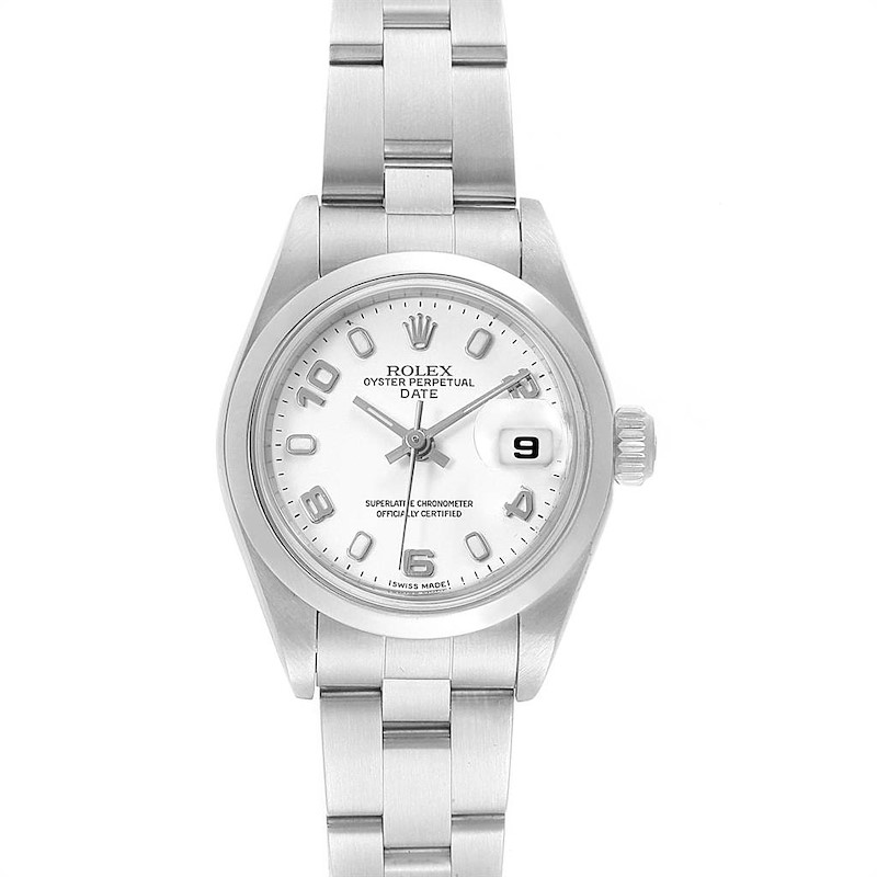 Rolex Date 26 White Dial Oyster Bracelet Steel Ladies Watch 79160 SwissWatchExpo